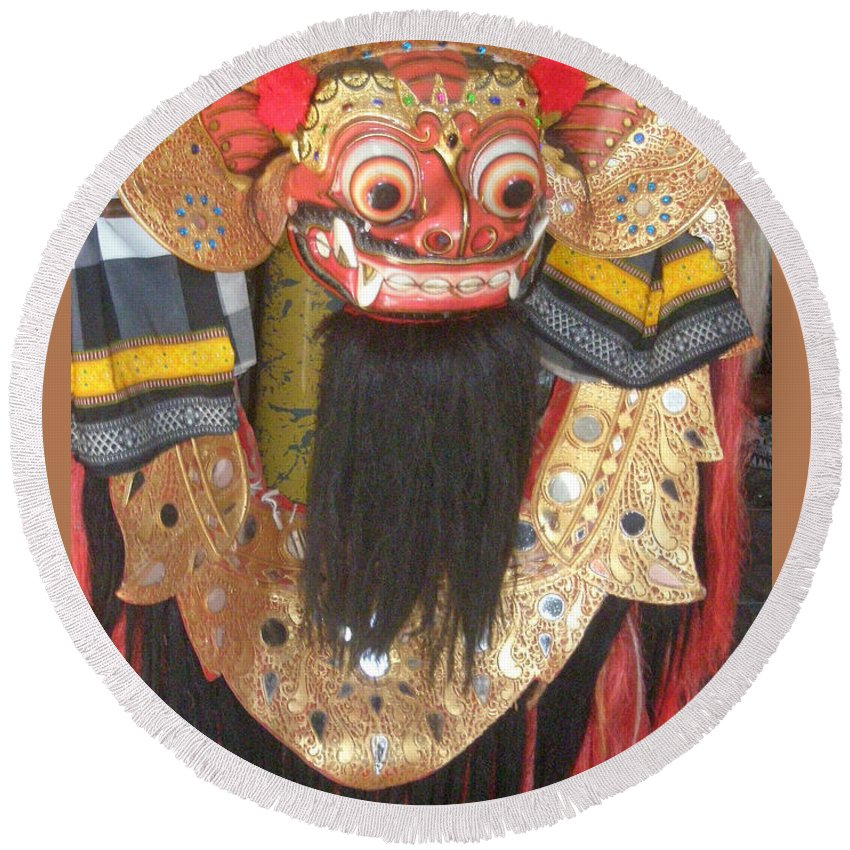 Bali Round Beach Towel featuring the photograph Balinese Barong by Mark Sellers