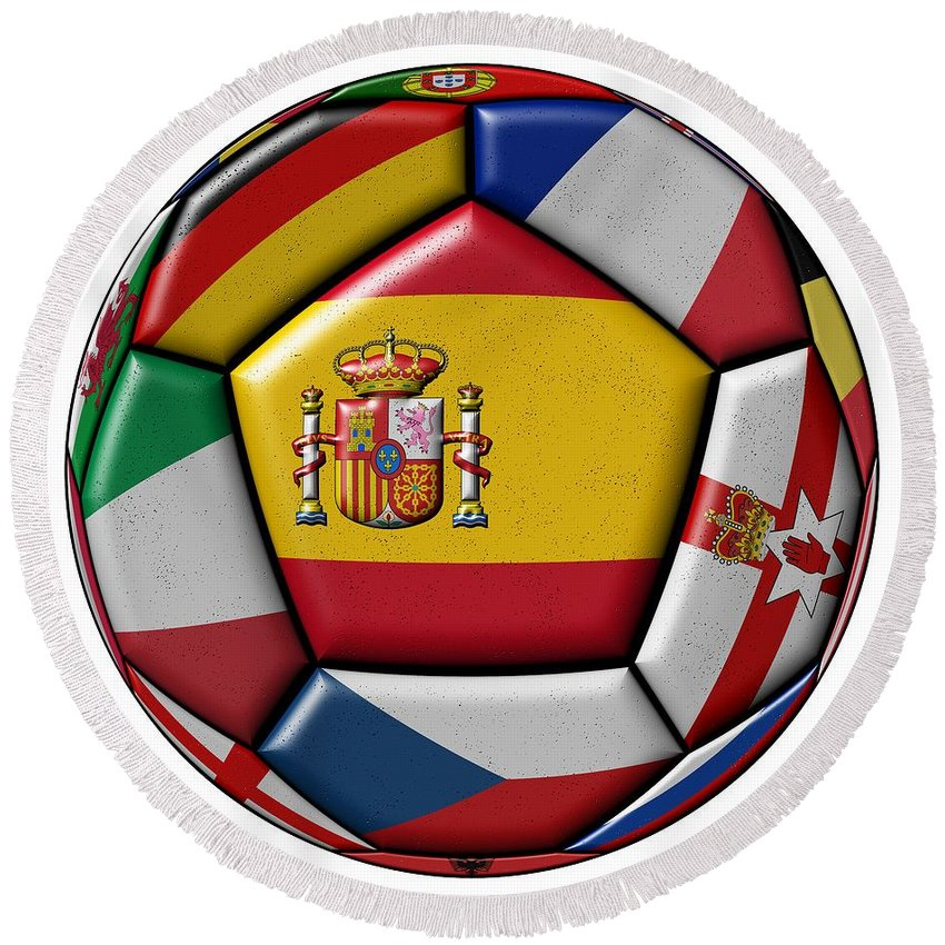 Europe Round Beach Towel featuring the digital art Ball With Flag Of Spain In The Center by Michal Boubin