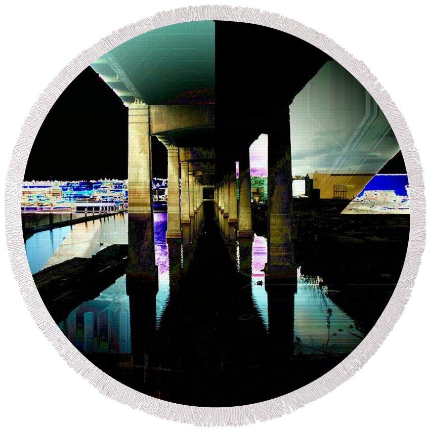 Seattle Round Beach Towel featuring the digital art Ballard Bridge by Tim Allen