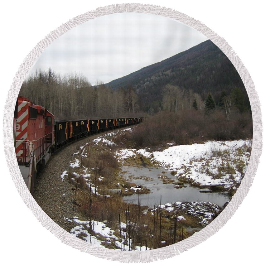 Photograph Train Mountain Snow Winter Tree Nature Round Beach Towel featuring the photograph Ballast Train by Seon-Jeong Kim