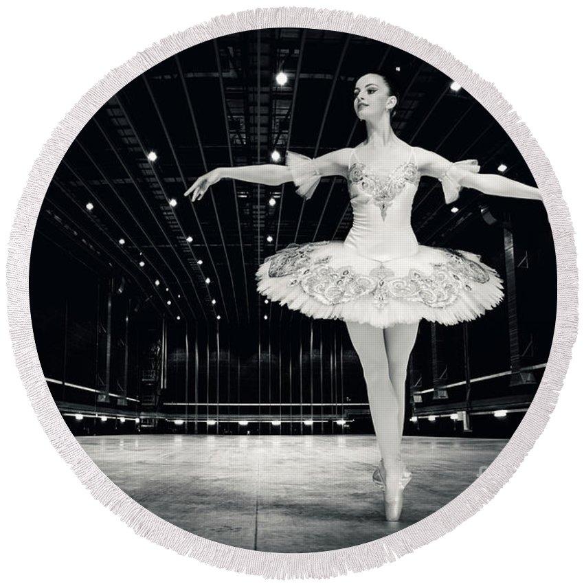 Ballet Round Beach Towel featuring the photograph Ballerina by Dimitar Hristov