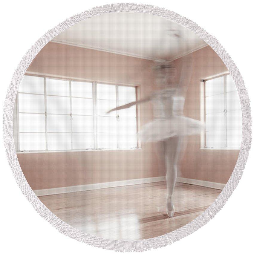 Ballerina Round Beach Towel featuring the photograph Ballerina Ghost by Steve Williams