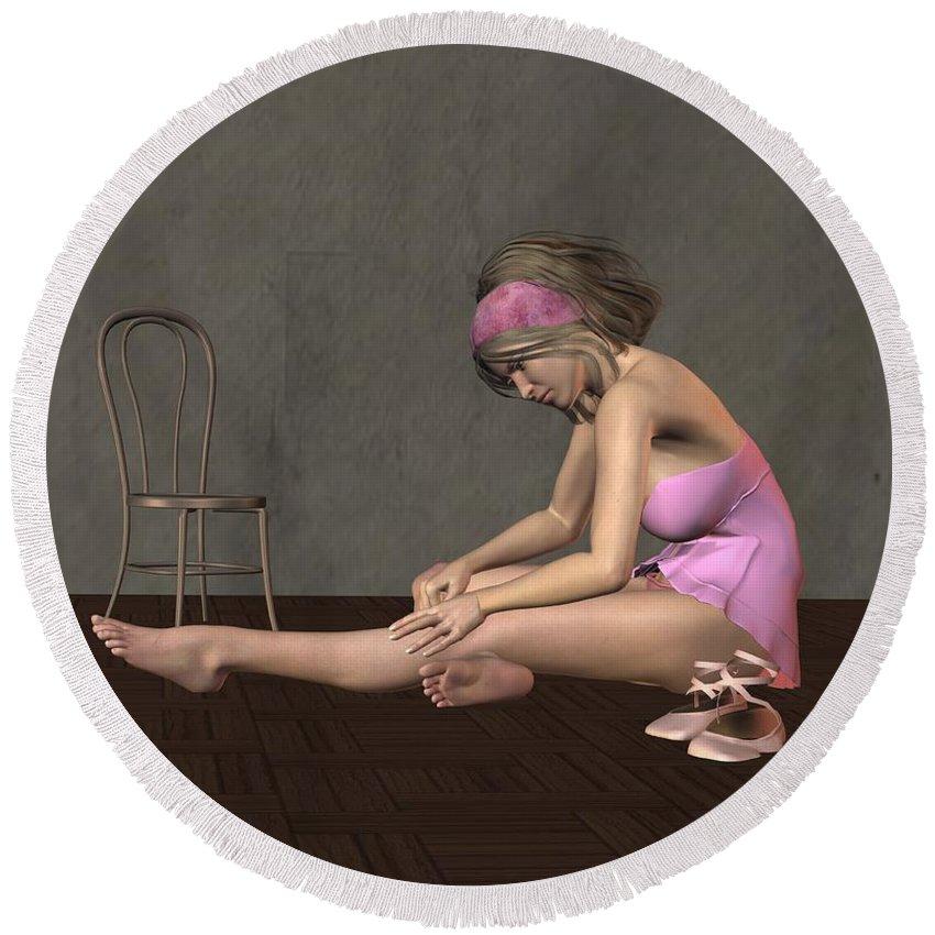 Dancer Round Beach Towel featuring the digital art Ballerina by John Junek