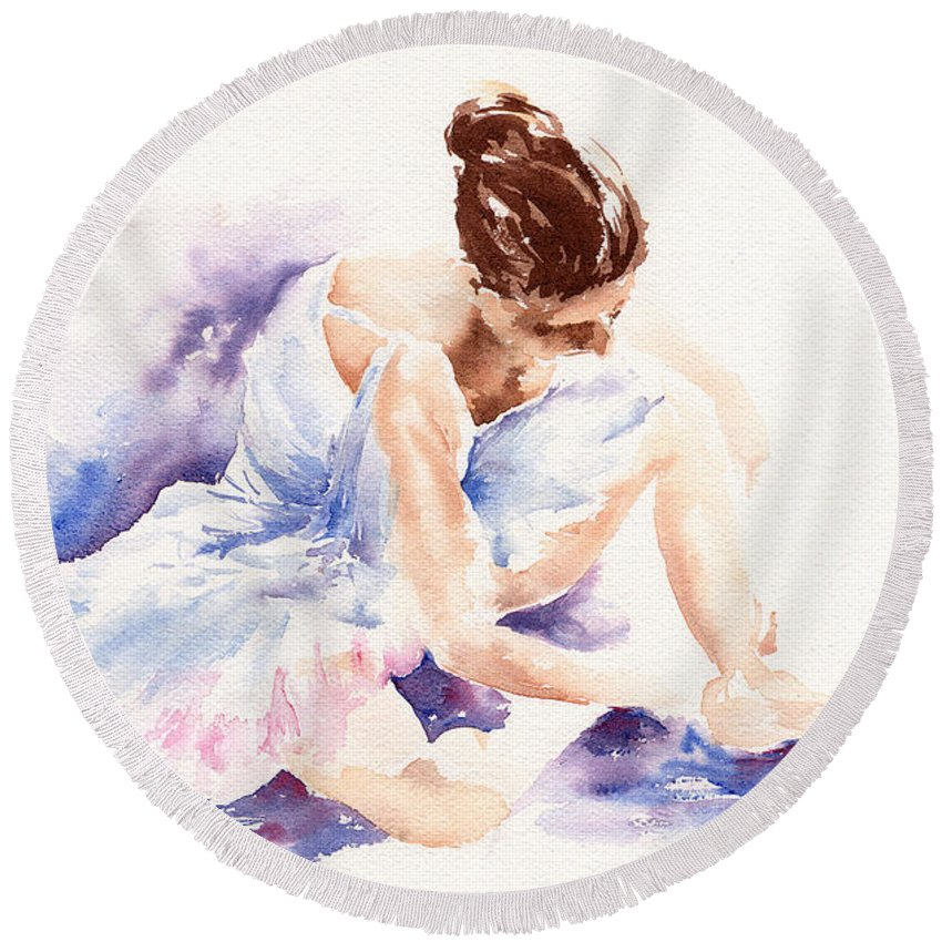 Ballerina Round Beach Towel featuring the painting Ballerina by Stephie Butler