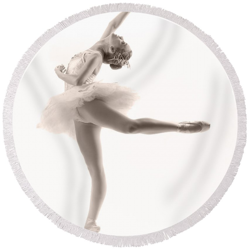 Ballerina Round Beach Towel featuring the photograph Ballerina by Steve Williams