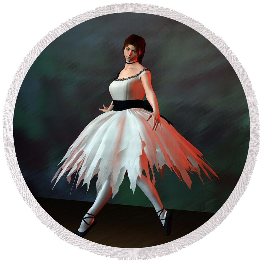 Ballet Round Beach Towel featuring the digital art Ballet Dancer by John Junek