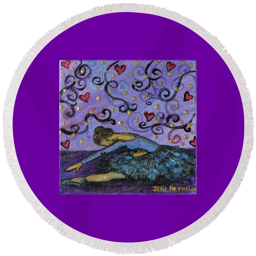 Ballet Round Beach Towel featuring the painting Ballet Magic by Jeni Reynolds