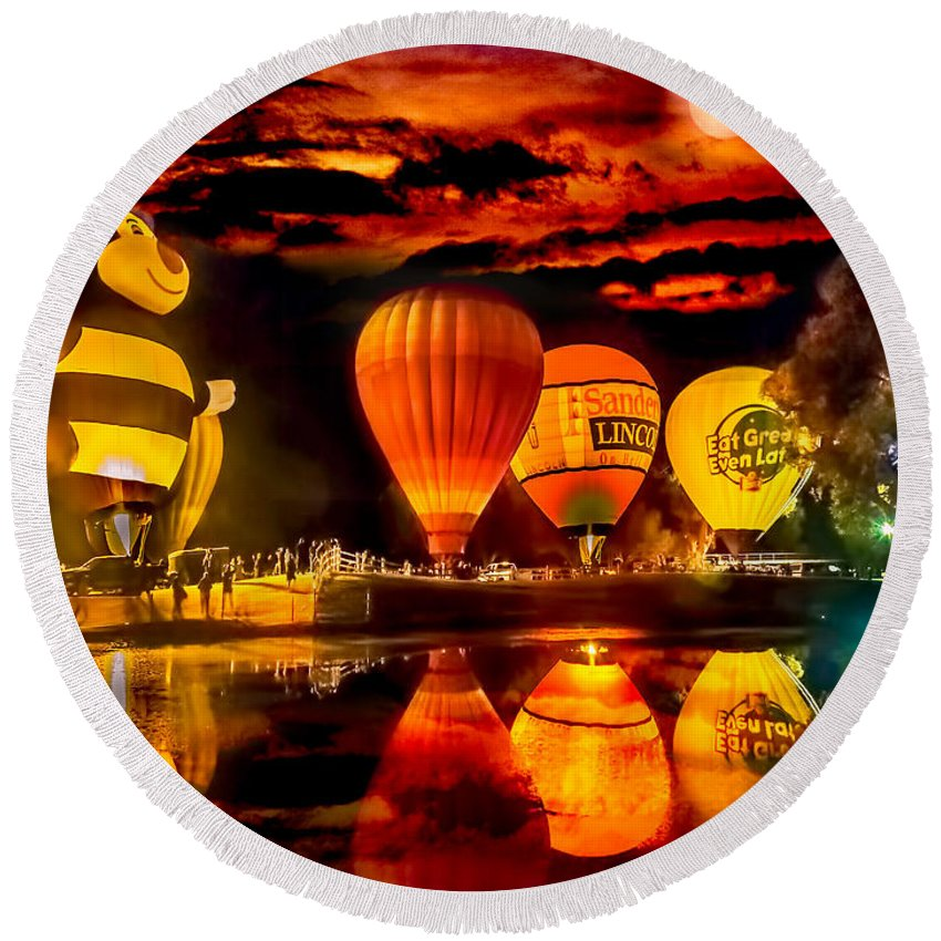 Balloons Round Beach Towel featuring the photograph Balloon Festival by Larry White