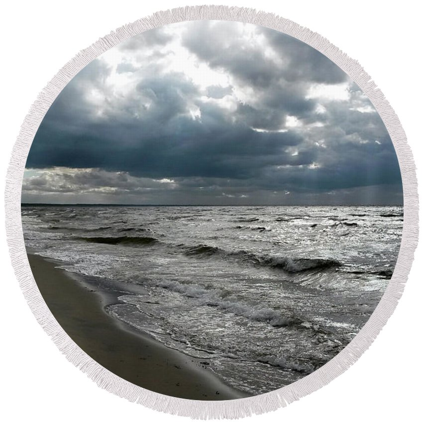 Sea Round Beach Towel featuring the photograph Baltic Sea 2017 by Restless Mind