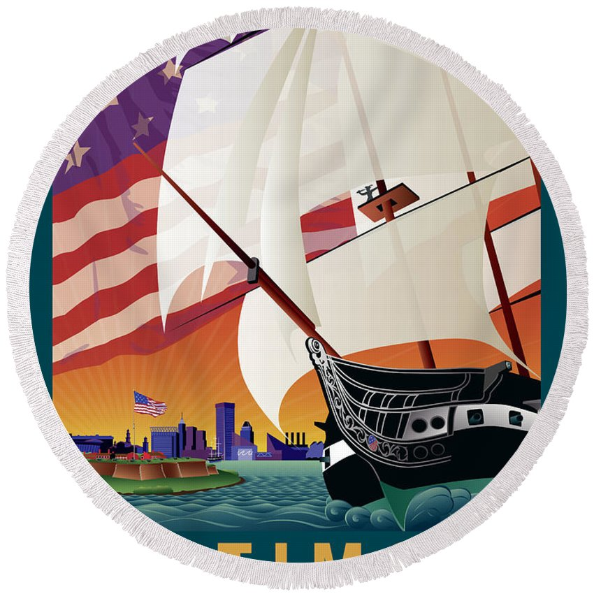 Baltimore Round Beach Towel featuring the digital art Baltimore - By The Dawns Early Light by Joe Barsin