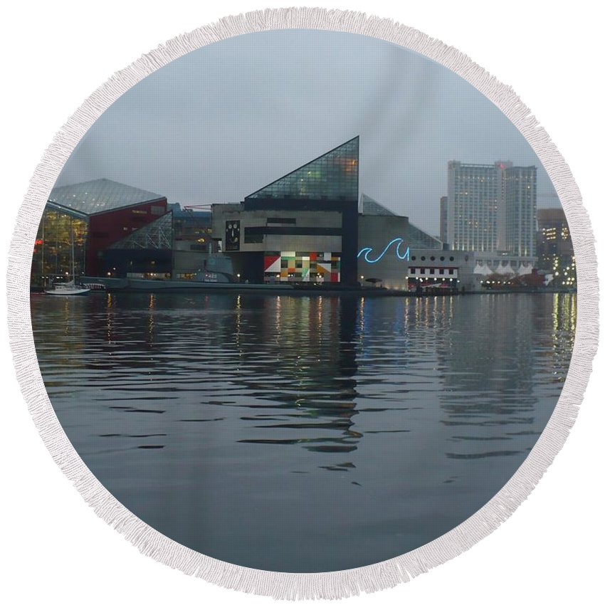 Baltimore Round Beach Towel featuring the photograph Baltimore Harbor Reflection by Carol Groenen