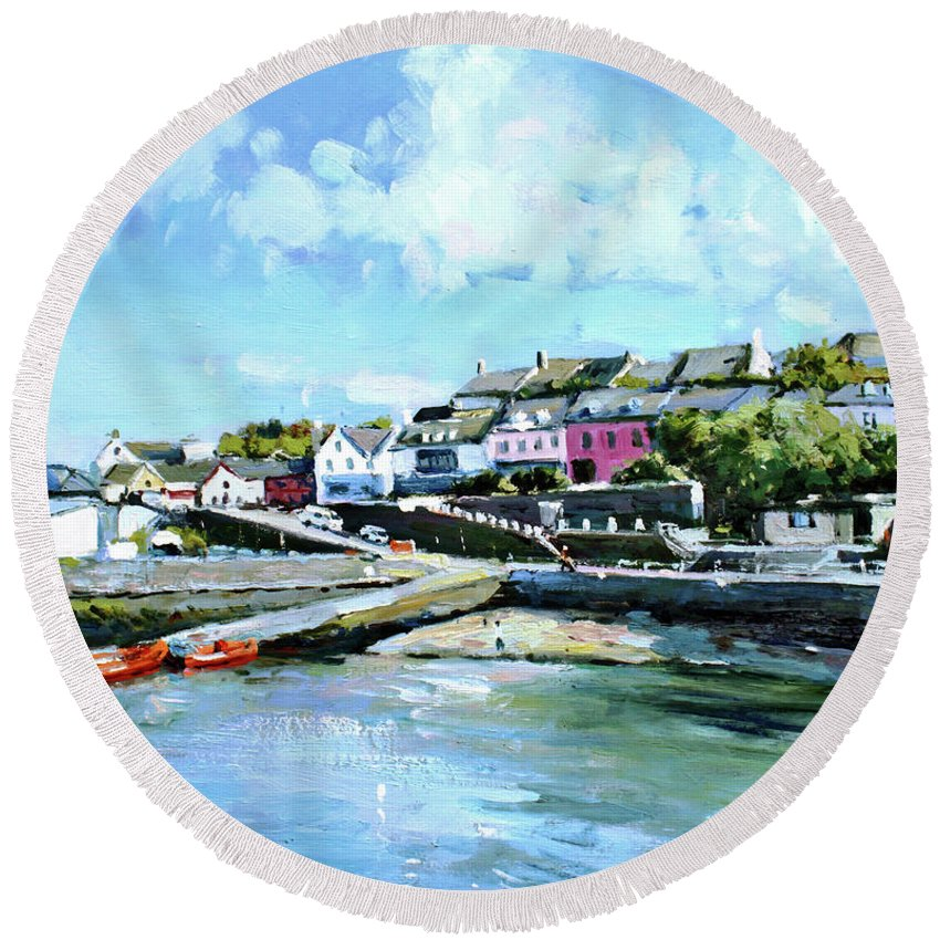 Baltimore Round Beach Towel featuring the painting Baltimore Harbour County Cork by Conor McGuire