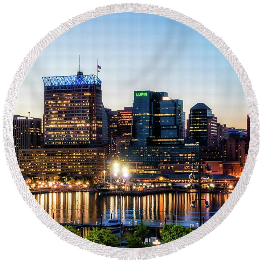 Baltimore Round Beach Towel featuring the photograph Baltimore Inner Harbor Reflections by Carol Ward