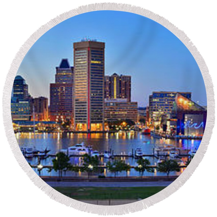 Baltimore Inner Harbor Skyline Round Beach Towel featuring the photograph Baltimore Skyline Inner Harbor Panorama At Dusk by Jon Holiday