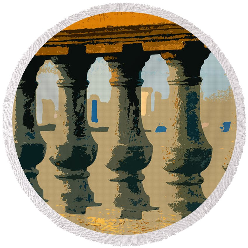 Balustrade Round Beach Towel featuring the painting Balustrade by David Lee Thompson