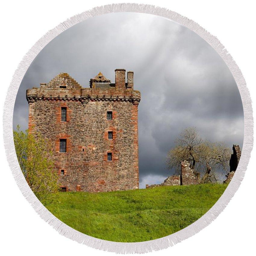 Balvaird Castle Round Beach Towel featuring the photograph Balvaird Castle Ruins Scotland by Caroline Reyes-Loughrey
