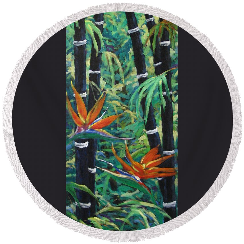 Bamboo Round Beach Towel featuring the painting Bamboo And Birds Of Paradise by Richard T Pranke