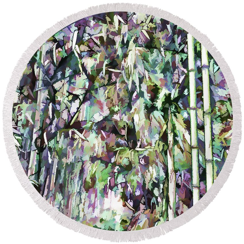Art Of Bamboo Round Beach Towel featuring the painting Bamboo Background In Nature by Jeelan Clark