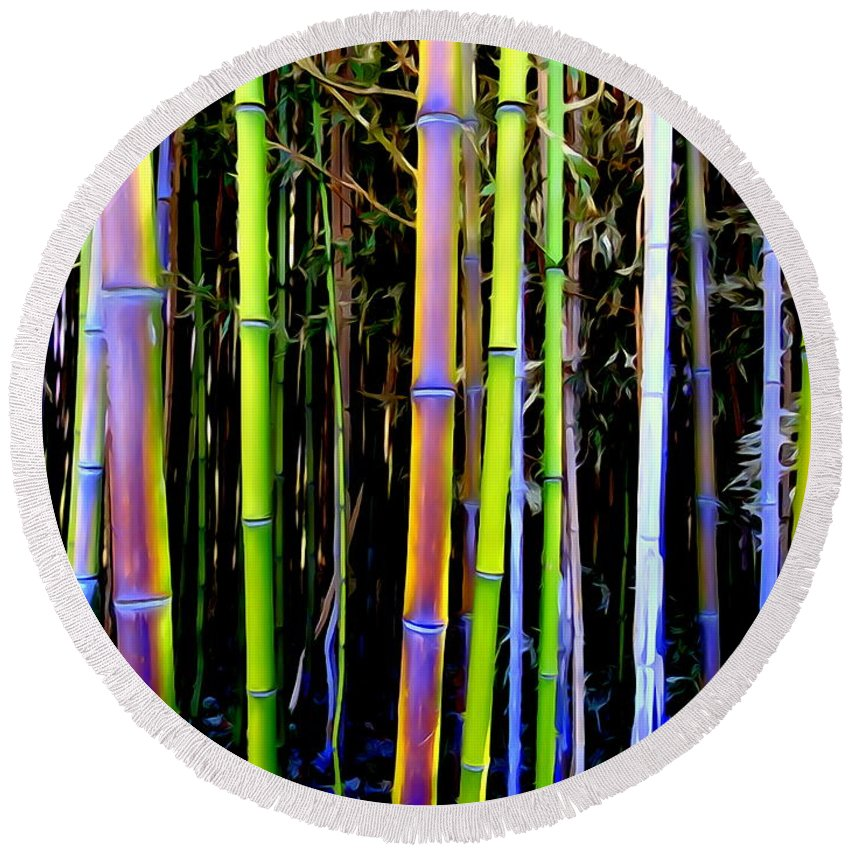 Digital Art Round Beach Towel featuring the photograph Bamboo Dreams #14 by Ed Weidman