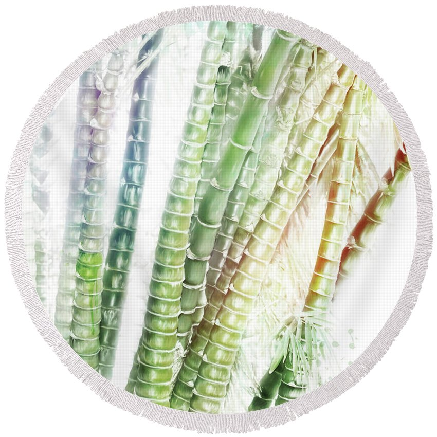Bamboo Round Beach Towel featuring the digital art Bamboo Forest Watercolor by Svetlana Foote