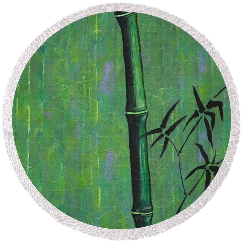 Bamboo Round Beach Towel featuring the painting Bamboo by Jacqueline Athmann