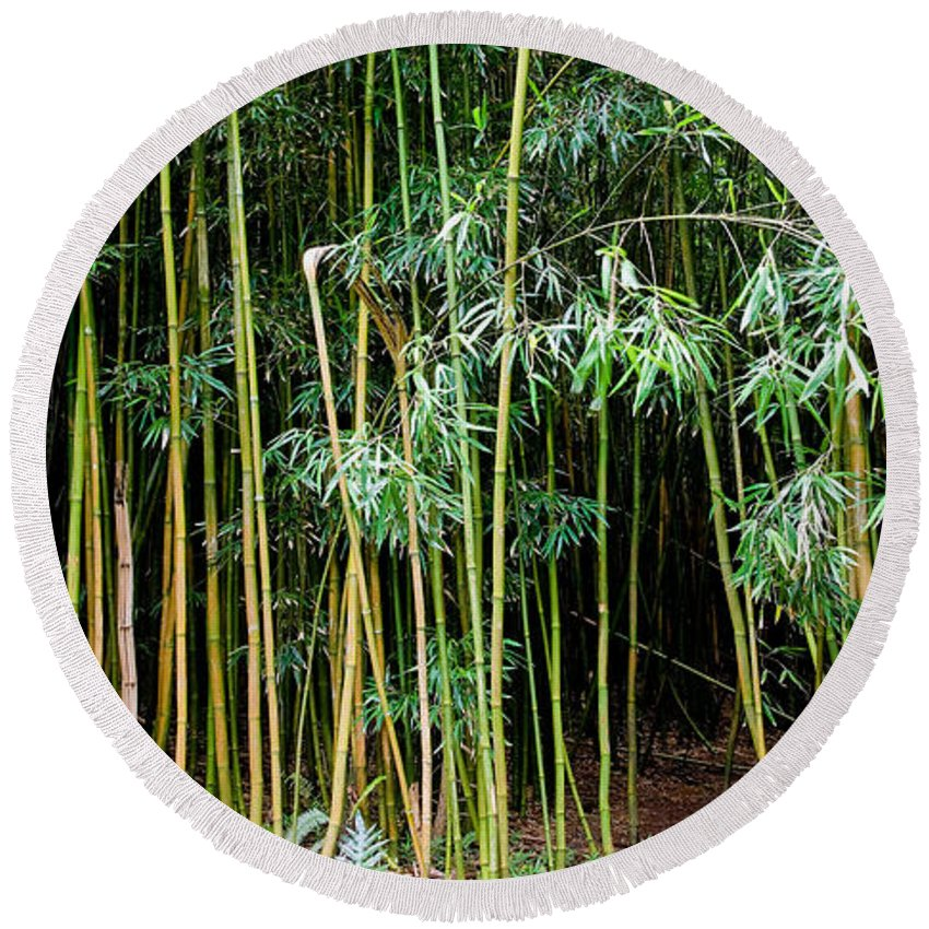 Bamboo Wind Chimes Round Beach Towel featuring the photograph Bamboo Wind Chimes Waimoku Falls Trail Hana Maui Hawaii by Michael Bessler