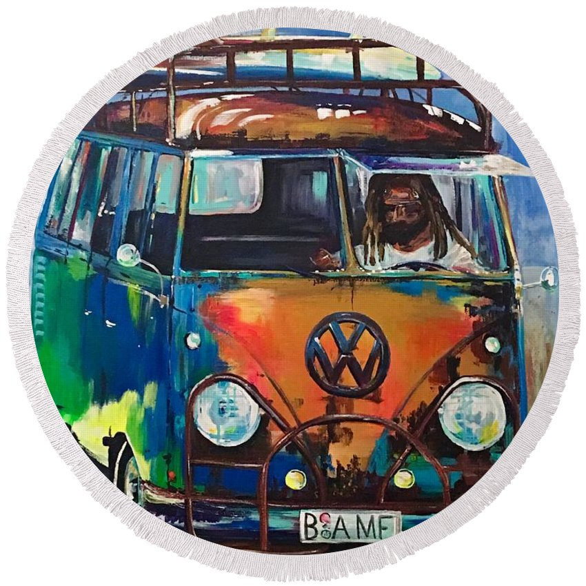 Vw Microbus Round Beach Towel featuring the painting Bamf-vw Microbus by Denise Morencie