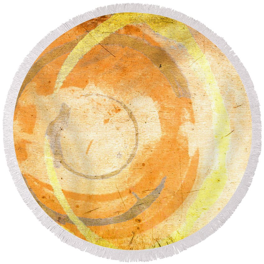 Brown Round Beach Towel featuring the painting Banana Cake by Julie Niemela