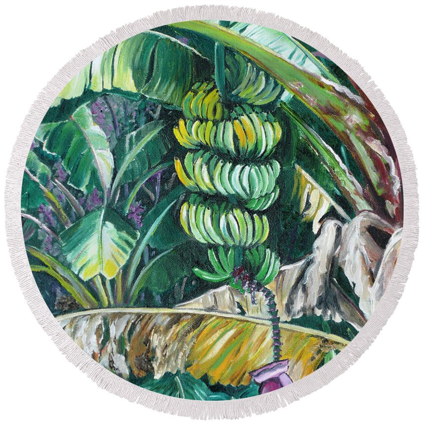 Caribbean Painting Bananas Trees P Painting Fruit Painting Tropical Painting Round Beach Towel featuring the painting Bananas by Karin Dawn Kelshall- Best