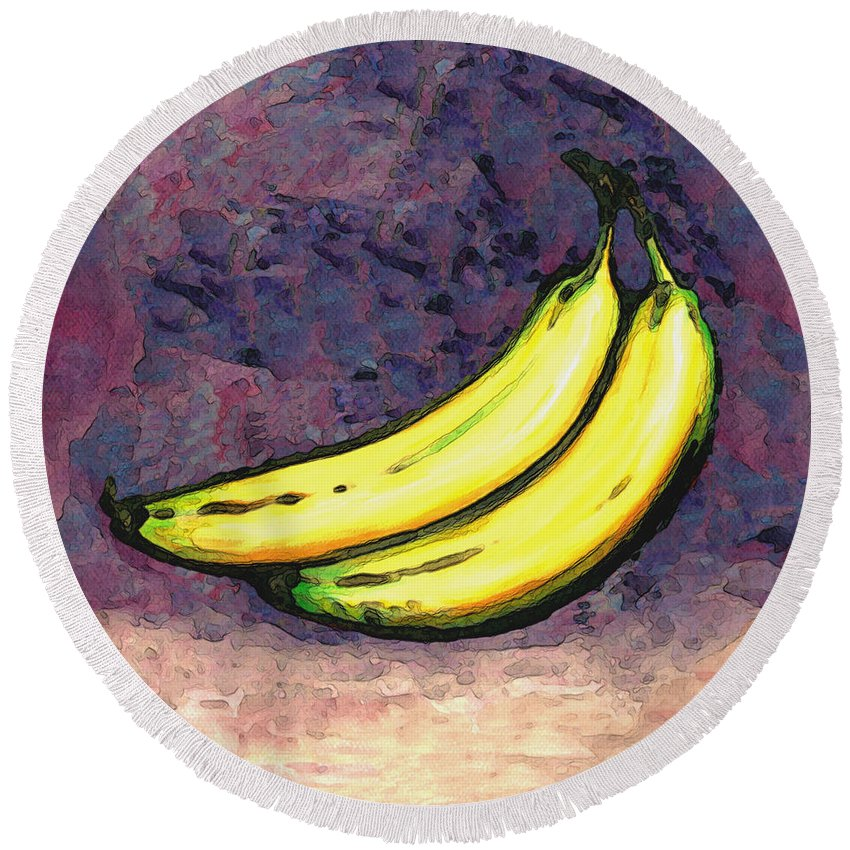 Bananas Round Beach Towel featuring the painting Bananas Three by Linda Mears