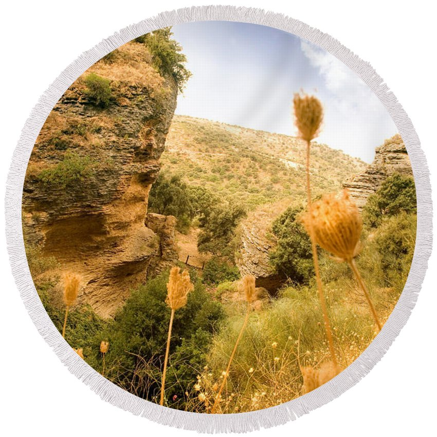 Spain Round Beach Towel featuring the photograph Bandit Country Near The Edge Of The Fan In Ronda Area Andalucia Spain by Mal Bray