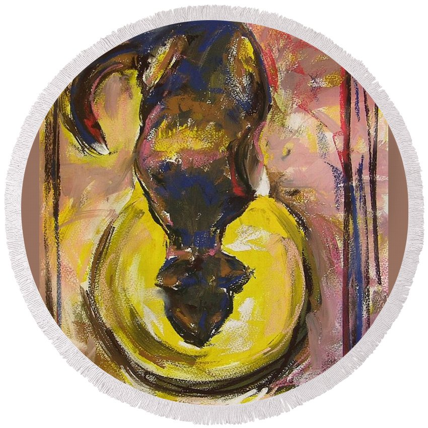 Cat Round Beach Towel featuring the painting Bandit by Mary McInnis