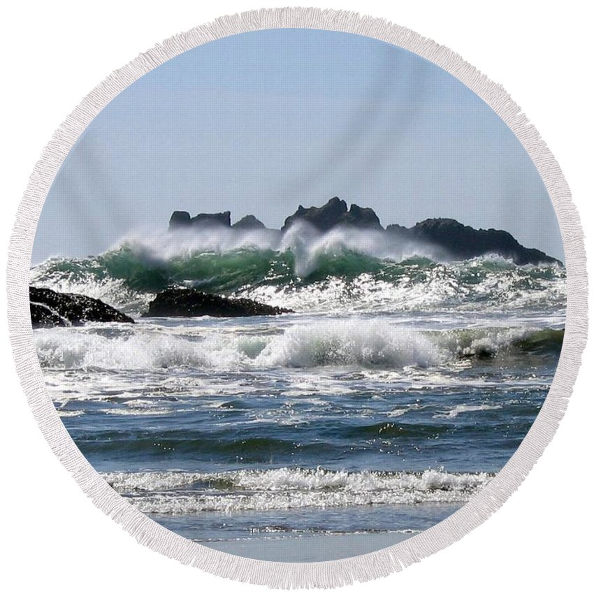 Bandon Round Beach Towel featuring the photograph Bandon 20 by Will Borden