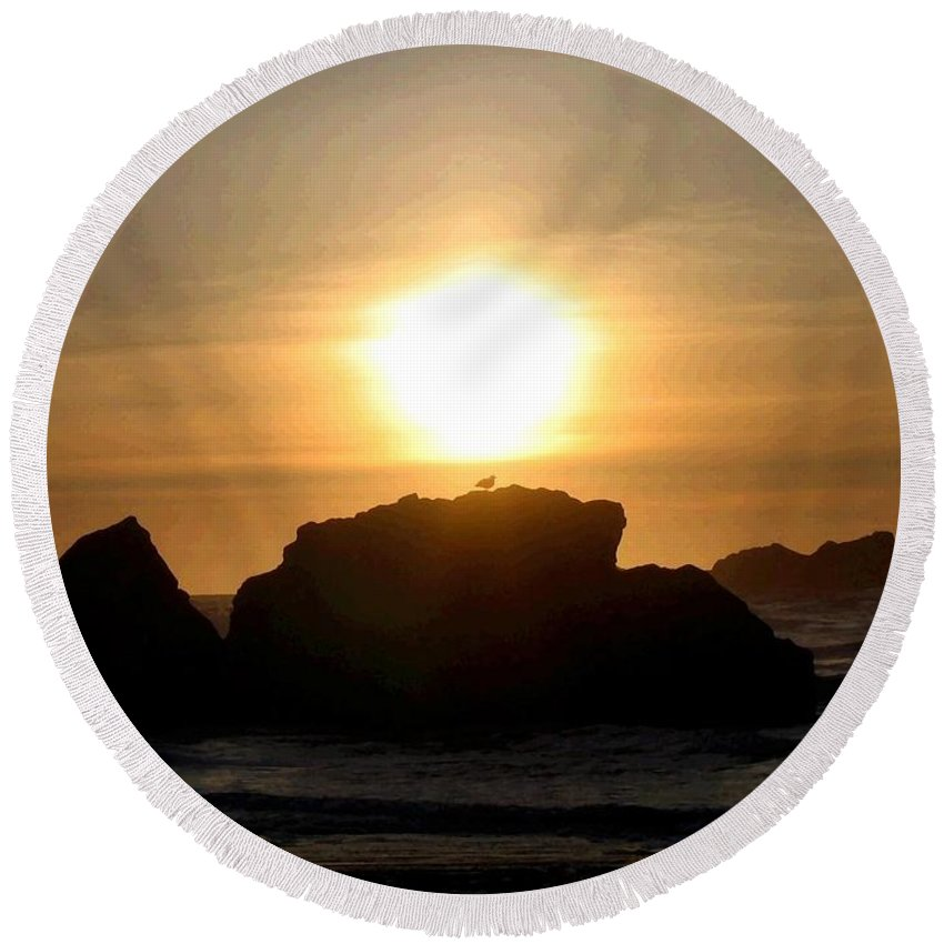 Seagull Round Beach Towel featuring the digital art Bandon Beach Silhouette by Will Borden