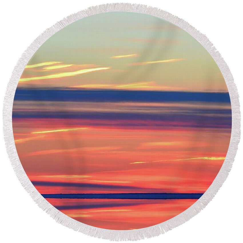 Abstract Round Beach Towel featuring the digital art Bands Of Colour Three by Lyle Crump