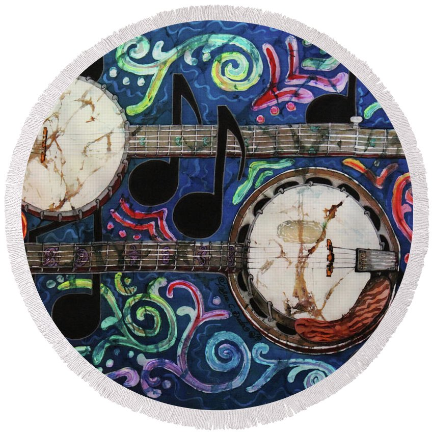Banjo Round Beach Towel featuring the painting Banjos by Sue Duda