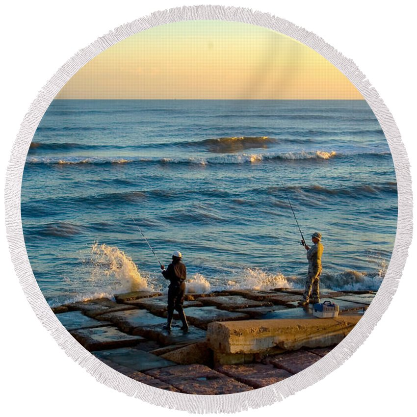 People Male Round Beach Towel featuring the photograph Bank Fishing by Robert Brown