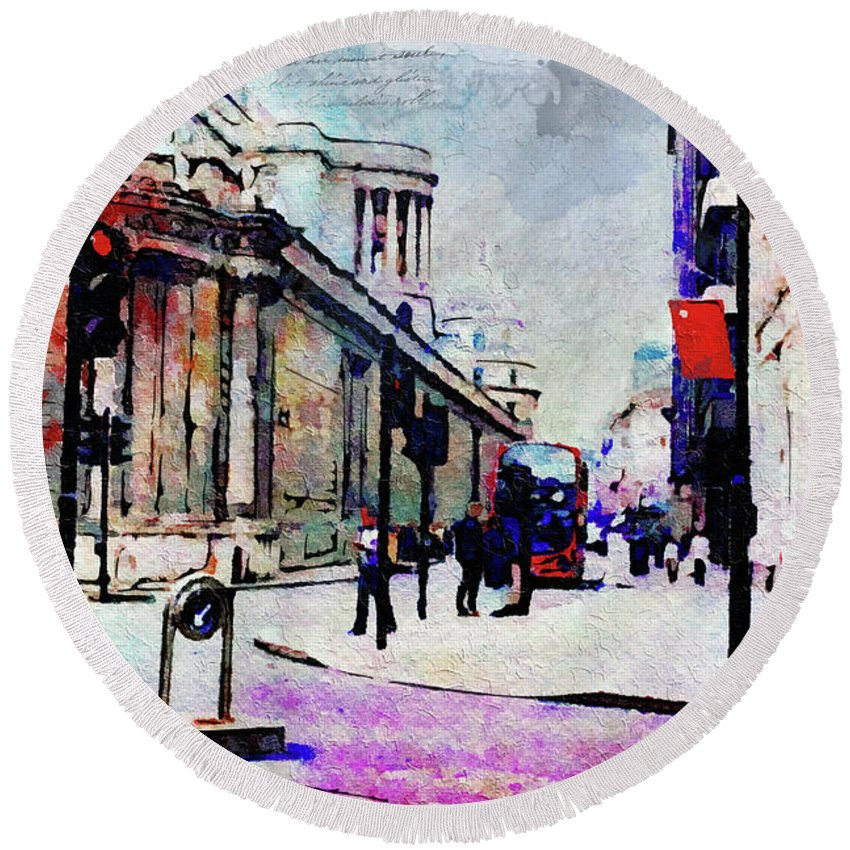 London Round Beach Towel featuring the digital art Bank by Nicky Jameson