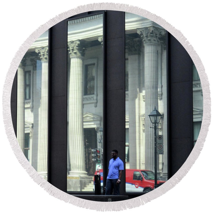 Montreal Round Beach Towel featuring the photograph Bank Of Montreal Reflection by Randall Weidner