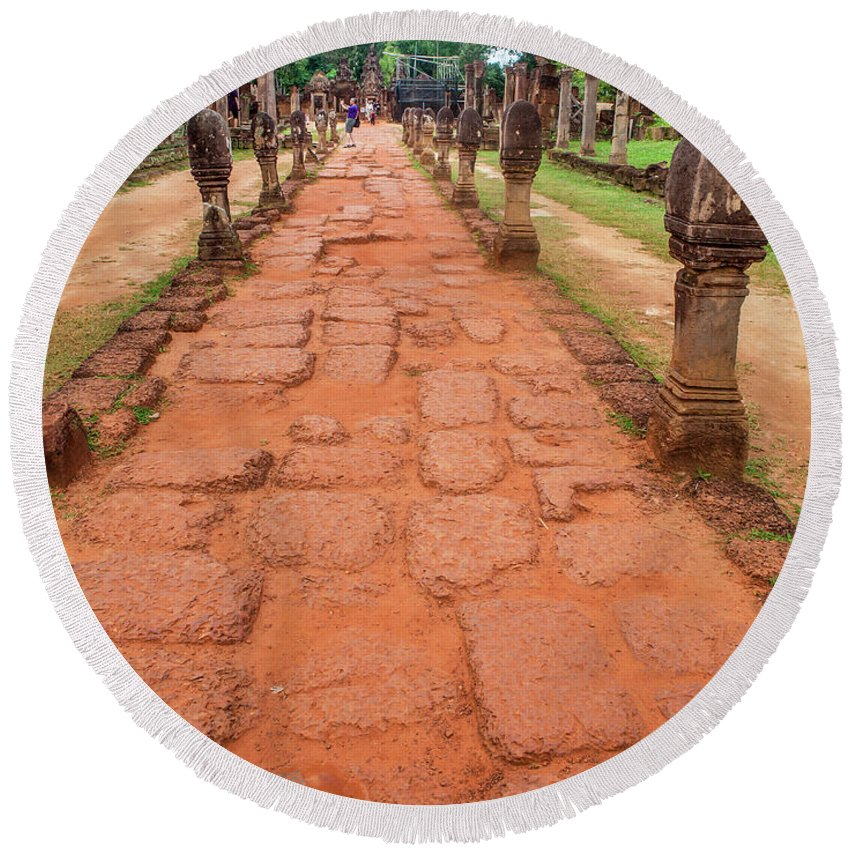 Road Round Beach Towel featuring the photograph Banteay Srei Red Sandstone Road - Cambodia by Art Phaneuf