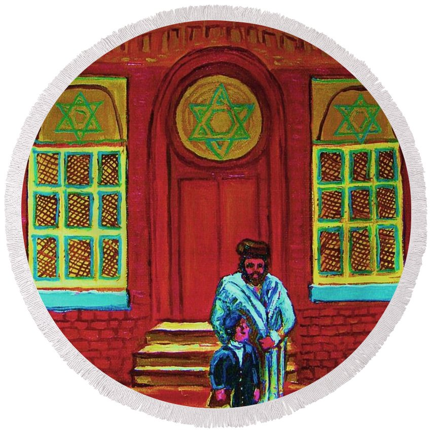 Synagogues Round Beach Towel featuring the painting Bar Mitzvah Lesson At The Synagogue by Carole Spandau