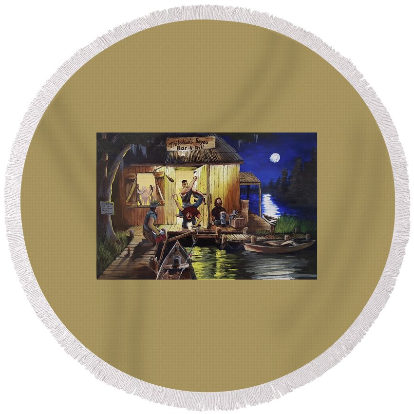 Landscape Round Beach Towel featuring the painting Bar Room Brawl by Nicolas Avet