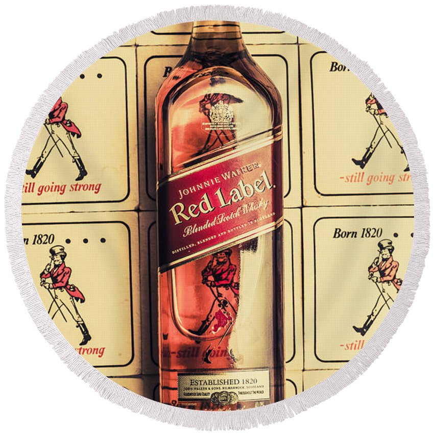 Johnnie Round Beach Towel featuring the photograph Bar Wall Art. Old Johnnie Walker Red Label by Jorgo Photography - Wall Art Gallery