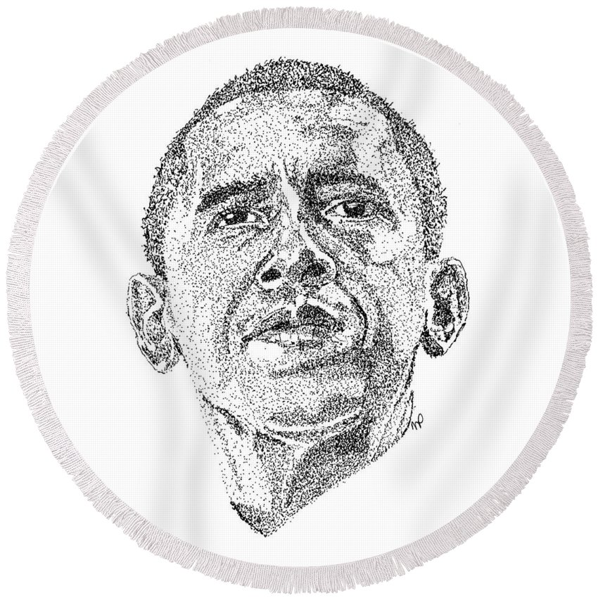 Black Art Round Beach Towel featuring the drawing Barack Obama by Marcus Price