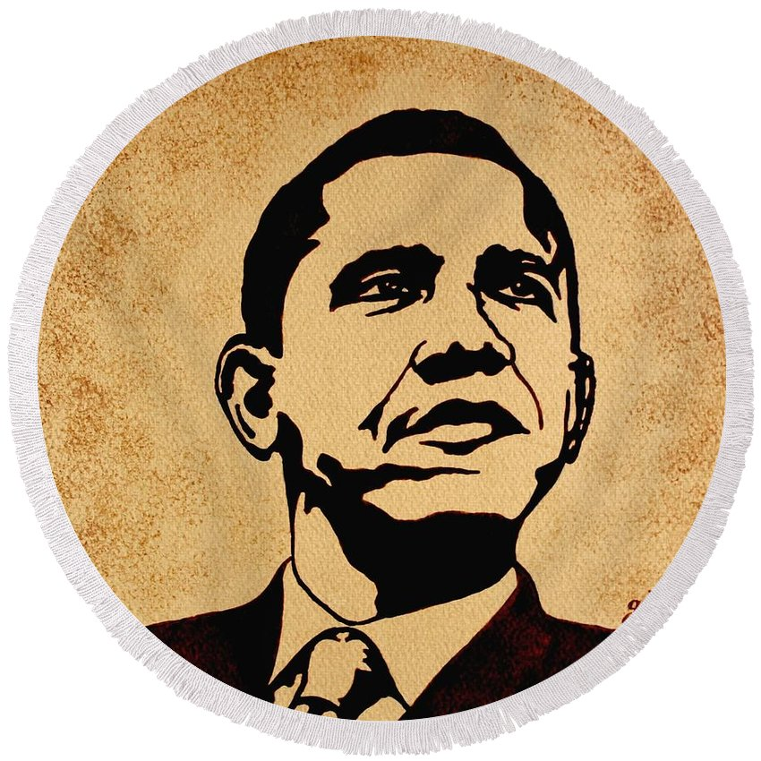Barack Obama Coffee Painting Pop Art Round Beach Towel featuring the painting Barack Obama Original Coffee Painting by Georgeta Blanaru