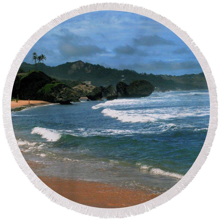 Beach Round Beach Towel featuring the photograph Barbados Berach by Gary Wonning