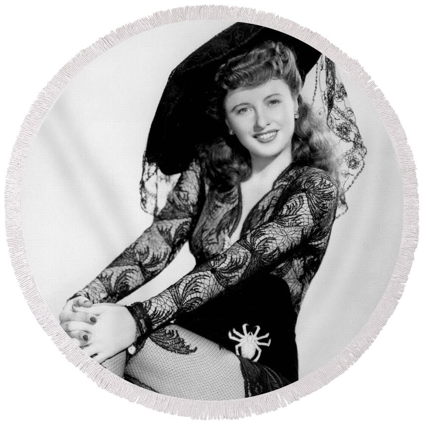 Barbara Stanwyck Round Beach Towel featuring the photograph Barbara Stanwyck by American School