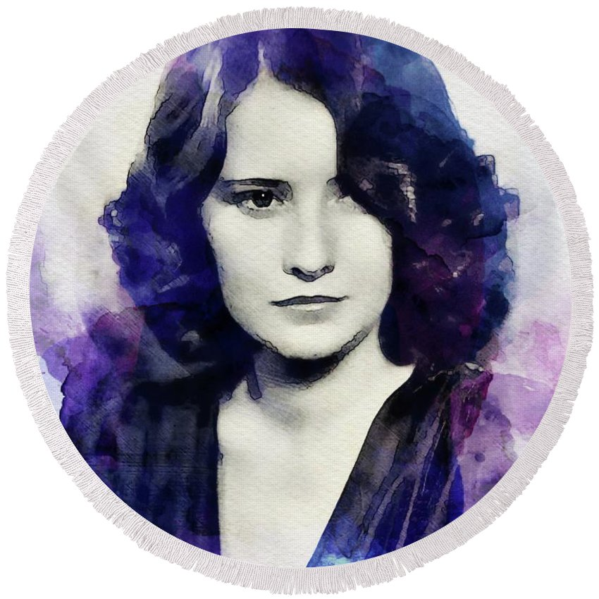 Barbara Round Beach Towel featuring the digital art Barbara Stanwyck, Vintage Actress by John Springfield