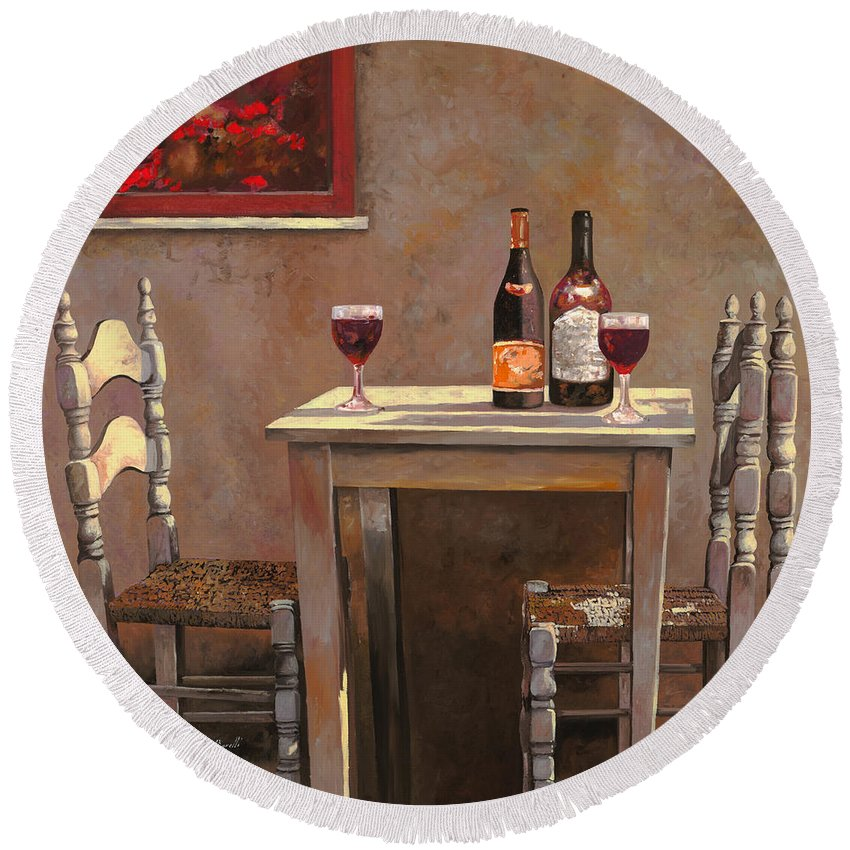 Wine Round Beach Towel featuring the painting Barbaresco by Guido Borelli