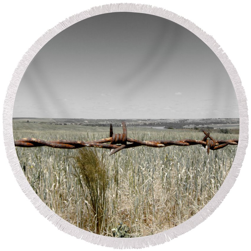 Barbed Wire Round Beach Towel featuring the photograph Barbed Wire by Douglas Barnard